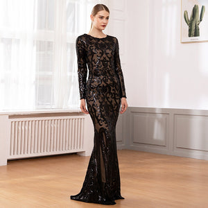Womens Elegant Black Sequined Long Sleeve Bodycon Runway Maxi Dress