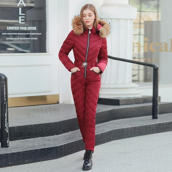Women's Pink Siamese Cotton Quilted One Piece Fashion Snowsuit Ski Jumpsuit - ICU SEXY