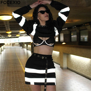 Sexy Reflective Striped Patchwork Hoodies Set Crops Causal Tops & High Waist Booty Skirts Women 2 Pcs Outfits