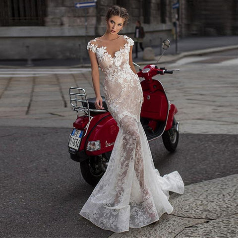 Fabulous Lace Mermaid Wedding Dresses 3D Lace Appliques See Through
