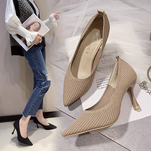 Fashion Black High Pointed Knit Toe Stiletto Heels