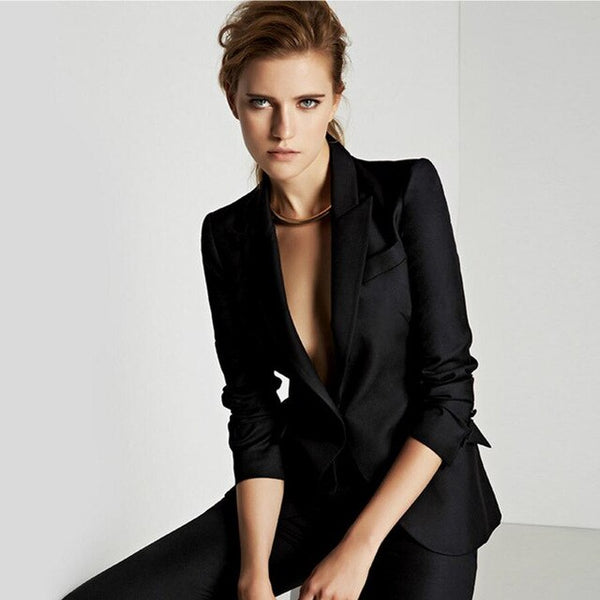 -Women's 2020 Fashion Solid Black Single Breasted Wear To Work 2 Pieces Jacket+Pant Suit
