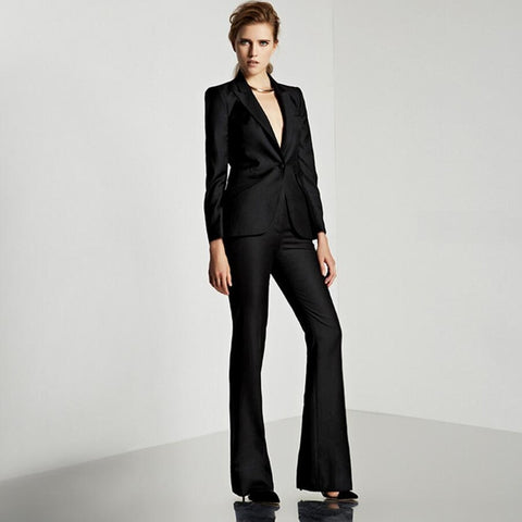 Women's 2020 Fashion Solid Black Single Breasted Wear To Work 2 Pieces Jacket+Pant Suit