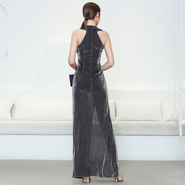 Women's Designer Fashion Shimmering Sleeveless Halter Long Maxi Dress