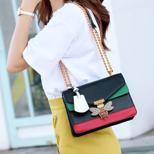 Fashion Women Color splicing Popular Brand Designer Bee Emblem Closure Handbag