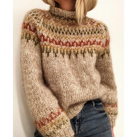 Women Casual Southwestern Pattern Wool Pullover Turtle Neck Sweater - ICU SEXY
