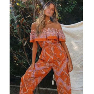 Women's Sexy Off Shoulder Tropical Orange Floral Print Wide Leg Jumpsuit