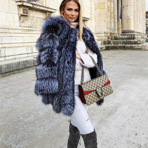 Women's Sexy Celebrity Club Solid Thick Faux Fox Fur Winter Coat - ICU SEXY