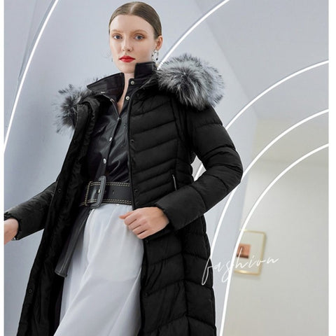 Women's Casual Solid Black full Length Quilted Hooded Parka Coat - ICU SEXY