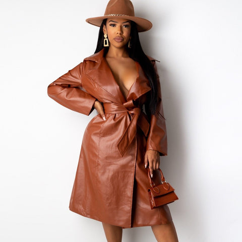 Women Sexy Long Sleeve  Vinyl Leather Trench Coat - ICU SEXY