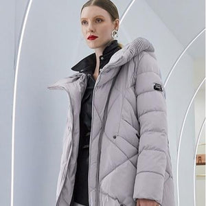 Women's High Fashion Soft Solid Diamond Quilted 3/4 Length Coat - ICU SEXY