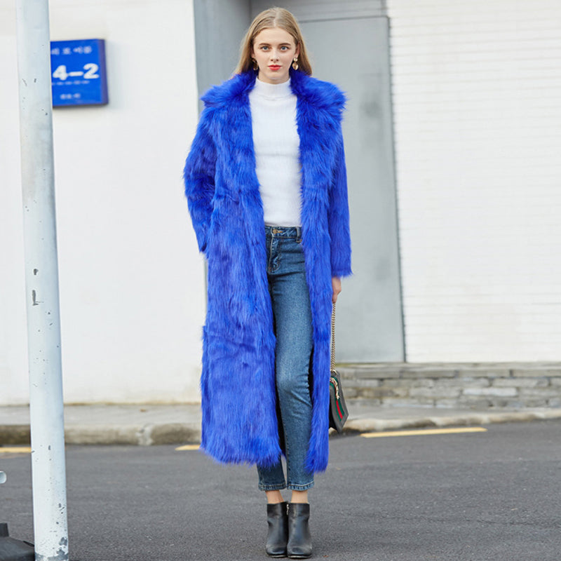 Women's Luxury Brand Full Length Vintage Soft Plush Blue Fur Coat - ICU SEXY