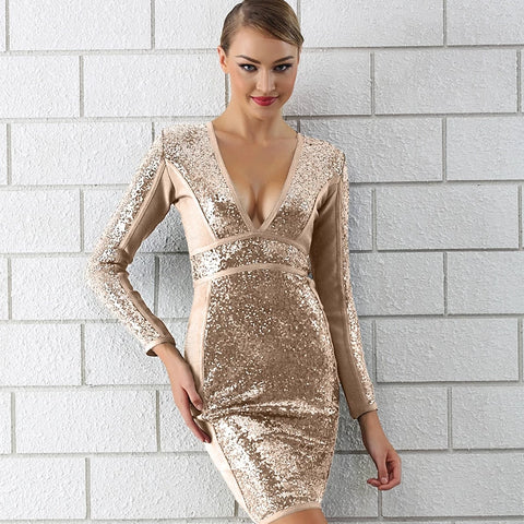 Winter Luxury Sequin Sexy V Neck Bandage Party Dress