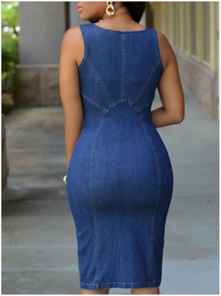 New Women Fashion Deep V Neck Plunge Sexy Denim Blue Jean Front Zipper Sleeveless Dress