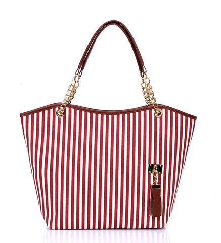 High Quality Fashion Canvas Zipper Chain Striped Tote Bag Also in Blue