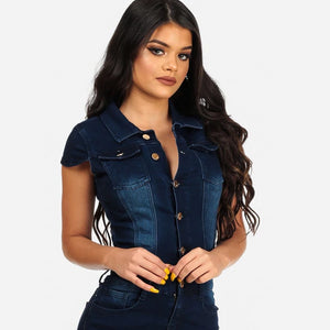 Women's Brand Fashion Button Down Vintage Denim Mini Dress