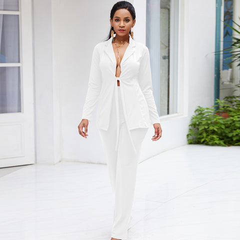 Women's Two Piece Bow Tie Jacket & Long Pants Suit - icu-sexy