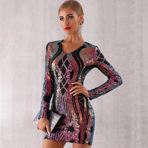 New Winter Sequined Celebrity Evening Runway Party Dress