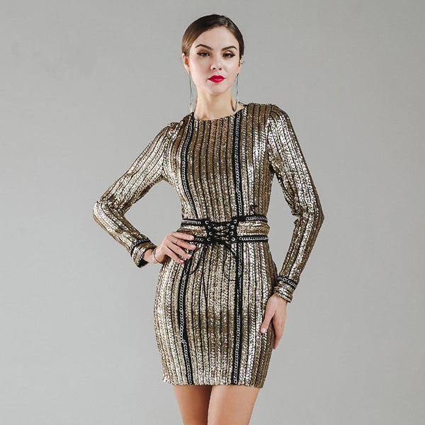 Sexy O-neck Long Sleeve Sequin Belt Rope Winter Dress - icu-sexy