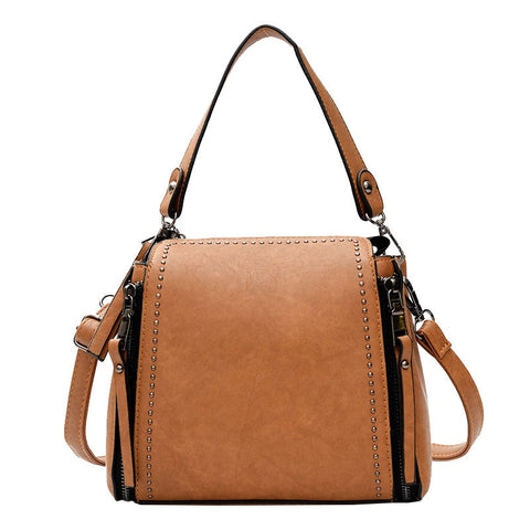 -Women's Vintage Dual Zipper Gold Riveted Large Capacity Shoulder Bag in 4 Colors