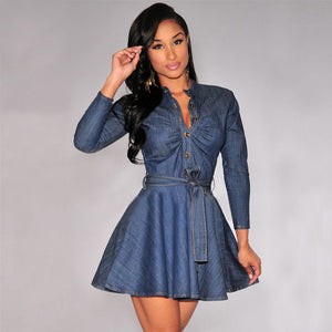 Vintage Loose Casual Women Jeans Mini Dress Long Sleeve Party Denim Shirt Dress
