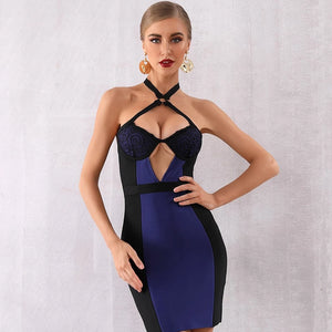 -Women's Sexy Halter Backless Lace Bandage Dress Party Dress