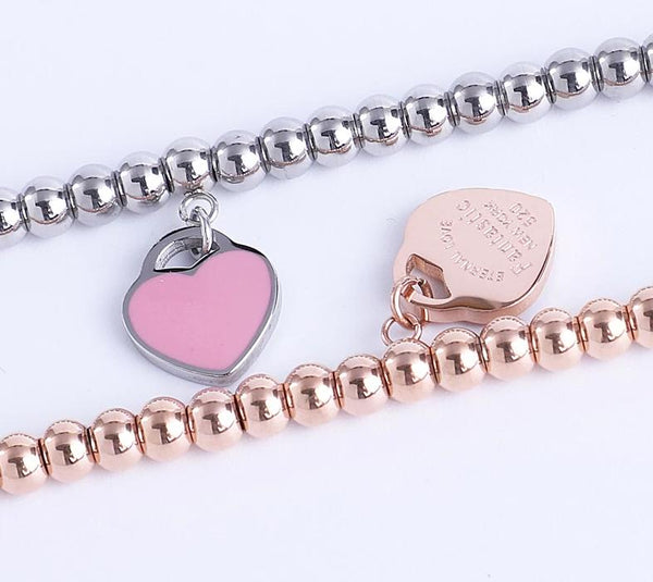 Tiffany inspired fashion engraved gold and silver stainless steel heart charm bracelets in blue and pink