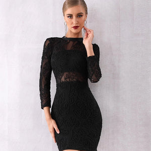 -Sexy Black Long Sleeve Lace Club Dress Runway Party Dress