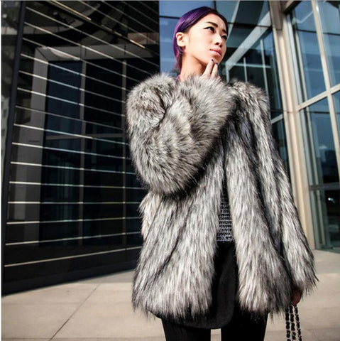 Women's High End Luxury Soft Thick Faux Gray Fox Fur Coat - icu-sexy
