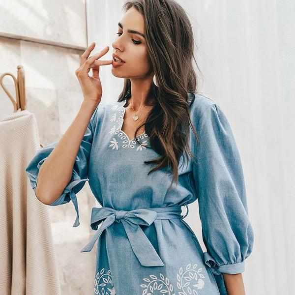Women's Floral Embroidered Casual V Neck Denim Mini Dress