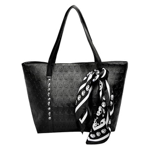 Women's Large Capacity Riveted Skull Fashion Tote Bags With Scarf