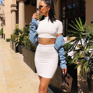 Women's Summer Crop Top and Skirt Matching Sets 2pcs Set Night Club Outfits