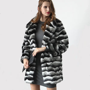 Women's Luxury Faux Fur Coat Black & White Striped Thick Soft Plush Coat
