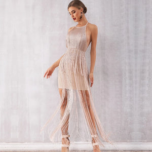 -Sexy Celebrity Evening Runway Party Dress Nude Maxi Tassels Club Dress