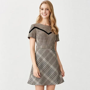 New British Designer Style Plaid Warm Viscose Blend Autumn Winter Fashion Dress