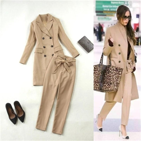 Women's High Fashion Double Breasted Khaki Trench Coat Pant Suit - ICU SEXY