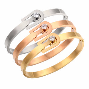 Luxury Brand Fashion Crystal Belt Clasp Bracelets In Stainless Steel - ICU SEXY