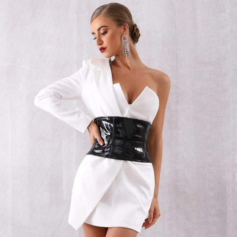 Black and White Tuxedo Style Off Shoulder Sash Celebrity Evening Mini Dress