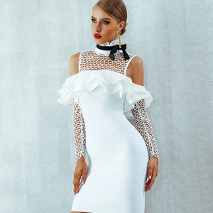 -Long Sleeve Elegant Ruffles Bow Sexy Off Shoulder Hollow Out Celebrity Party Dress