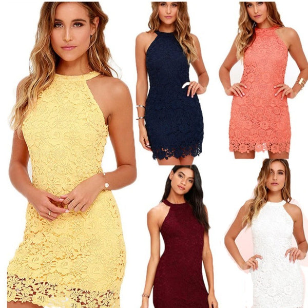 Women's Elegant Lace Embroidered Halter Party Dress in 5 Colors - ICU SEXY