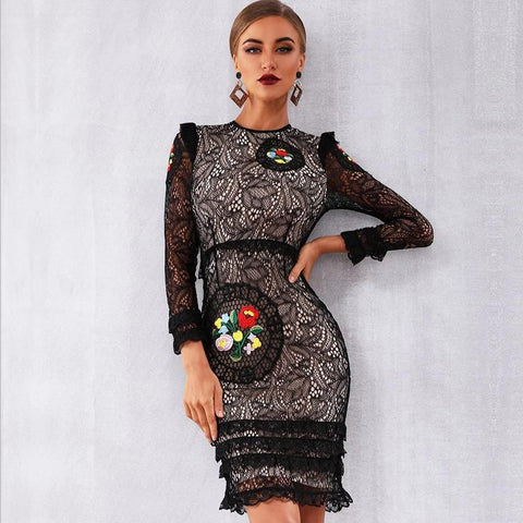 Women's Designer Black White Long Sleeve Lace Floral Embroidered Ruffled Runway Dress