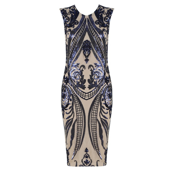 New Fashion Sleeveless Elegant Blue Bodycon Evening Party Bandage Dress