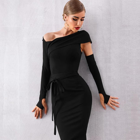 Long Sleeve Sexy Hollow Out Black Celebrity Style Runway Party Dress