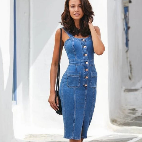 New Women's Denim Dress Sexy Slim Pack Hip Strap Split Button Dress Fashion Casual Pencil Dress