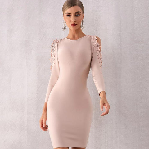 Women's New Winter Hollow Lace Long Sleeve Celebrity Designer Party Dress