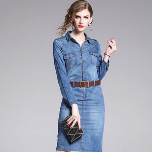 Women's Casual Vintage Denim Pencil Dress