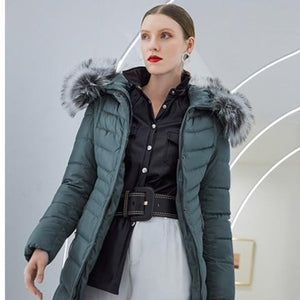 Women's Famous Brand Designer Full Length Quilted Fur Lined Hooded Puffer Parka Coat - ICU SEXY