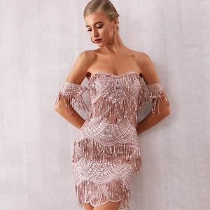 Sexy Off Shoulder Pink Sequin Fringe Designer Club Dress