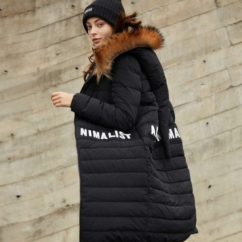 European Brand Designer Causal Solid Thick Quilted Duck Down Coat Fur Collar