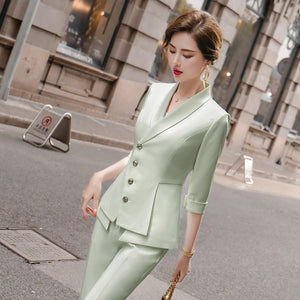 Women's High Quality Solid White Blazer Jacket Business Suit
